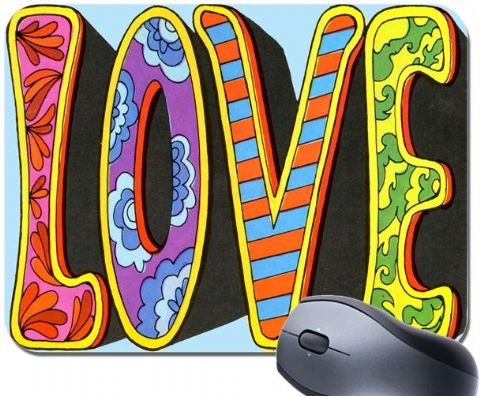 Love Sixties Hippy Style Psychedelic Writing Mouse Mat. Groovy 60's Art Mousepad Gift